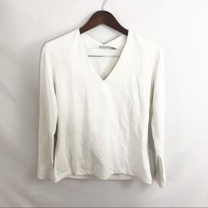 Chicos Size 1 White Blouse Nice Material Medium/8
